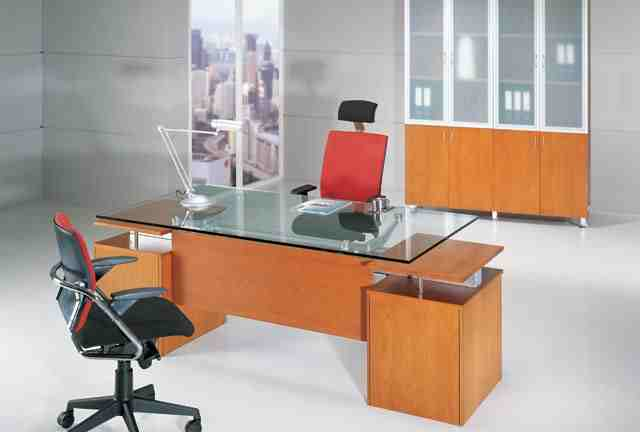 Knightly Glass Top Modern Executive Desk