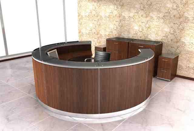 Rotunda veneer modern reception desk