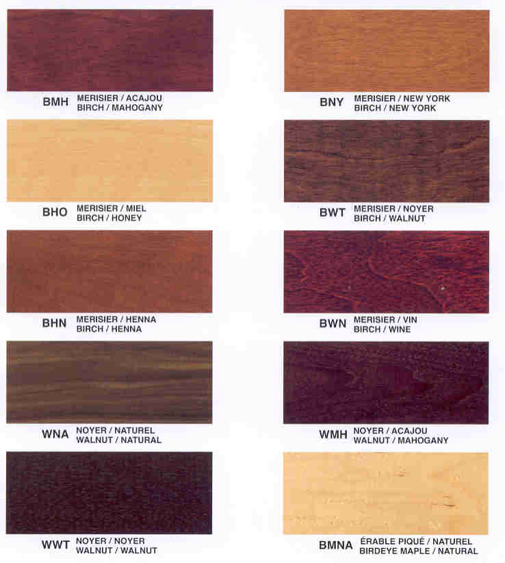 Available Finishes Chart 1