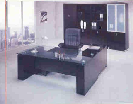 easton glass top modern executive desk with return and credenza wall unit