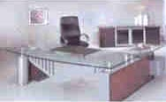 omni glass top executive desk