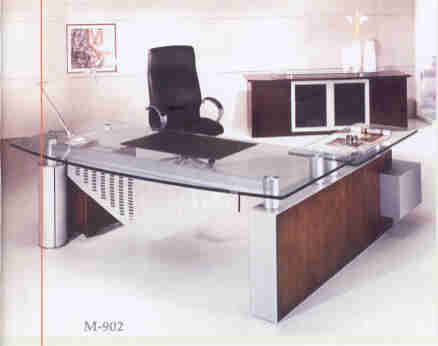 omni modern glass top executive desk with return