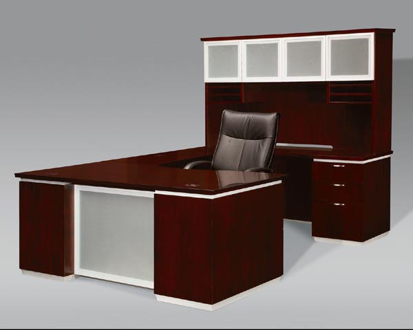 "pimlico walnut veneer executive ""U"" desk with hutch from dmi office furniture"