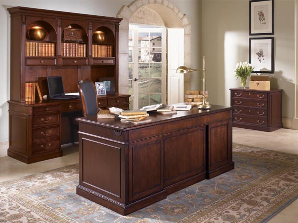 Wellington From Dmi Office Furniture Executive Suite Consisting Of Double  Ped Desk, Credenza, Hutch