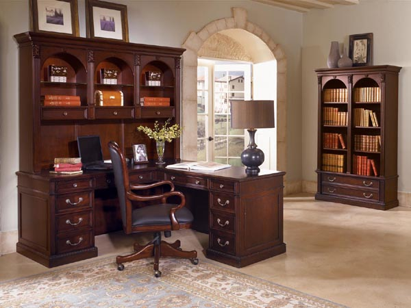 "wellington traditional computer ""L"" desk with open hutch and lateral file bookcase"