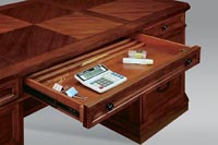Center drawer detail for executive desk