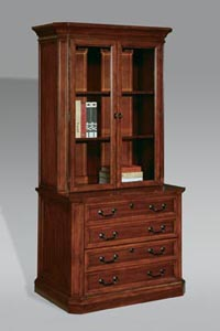 Two drawer lateral file with glass door storage upper unit