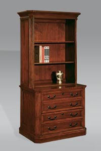 Two drawer lateral file with open storage upper unit