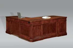 """Executive full pedestal """"L"""" desk with return, front view"""