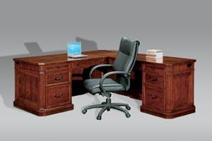 "Executive full pedestal ""L"" desk with return"