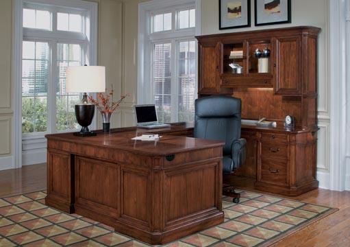 "Executive ""U"" desk with overhead storage hutch."