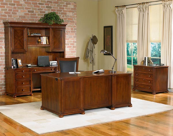 camden series from dmi traditional inspired style executive office featuring double ped desk, credenza, hutch and lateral file