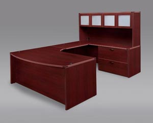 "Executive bow front half cockpit ""U"" desk with lateral file pedestal and white glass door overhead storage hutch shown in Mahogany laminate finish."