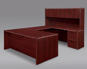 "Executive ""U"" desk with overhead storage hutch with doors shown in Mahogany finish."