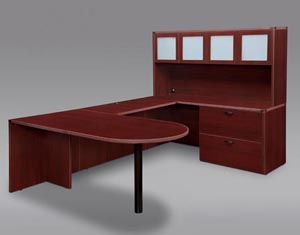 "Free standing penninsula table ""U"" desk with lateral file and white glass overhead storage hutch in Mahogany finished laminate."
