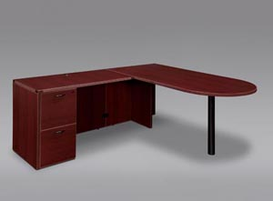 "Executive bullet ""L"" desk with double file drawer full pedestal."