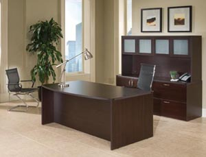 Executive desk, storage lateral file credenza, frosted panel door hutch shown in Mocha laminate finishe.