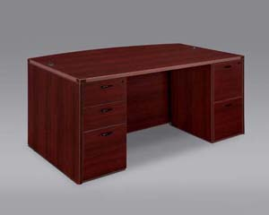 Executive bow front full pedestal desk