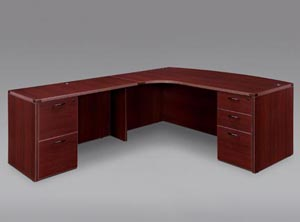 "Executive ""L"" cockpit desk with full pedestals in Mahogany."