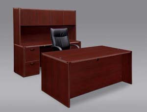 Executive desk and kneehole credenza with overhead door storage hutch with full pedestals.