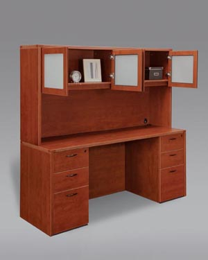 Kneehole credenza with full pedestals computer workstation with overhead white glass door hutch