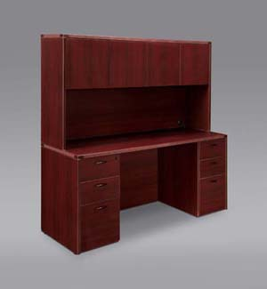Full pedestal kneehole credenza computer workstation with overhead door storage hutch