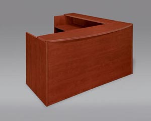 "Reception ""L"" desk with full pedestals shown in Cognac Cherry"