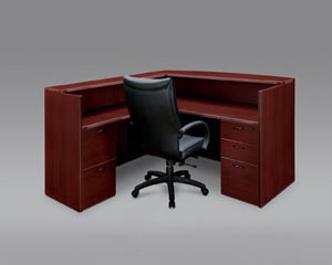 "Reception ""L"" desk with full pedestals shown in Mahogany"