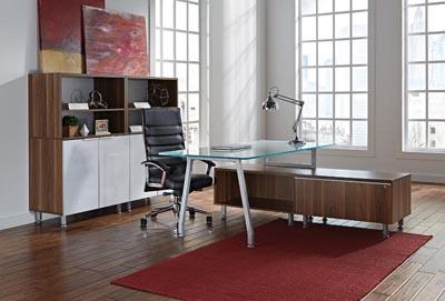 Inigo series glass desk and wall unit