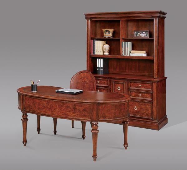 madison traditional style kidney shaped table desk , credenza and hutch with matching chair