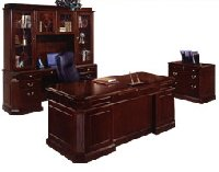 Oxmoor traditional office furniture with pilasters and burl accents