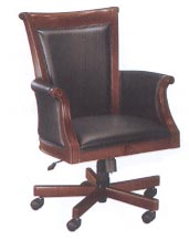 high back black leather and wood executive desk chair