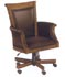 executive wood and brown leather desk chair