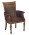 wood and brown leather guest chair