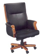 executive desk chair with exposed wood in black leather