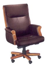 executive desk chair with exposed wood in burgundy leather