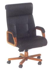 executive high-back desk chair in black leather