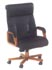 executive high back black leather and wood frame chair