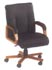 mid back black leather and wood frame chair