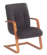 side chair in black leather