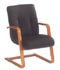 black leather and wood frame guest chair