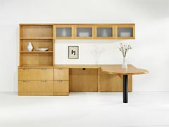 Innova P-top L desk with lateral file and bookcase hutch