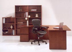 L desk office suite with bookcases