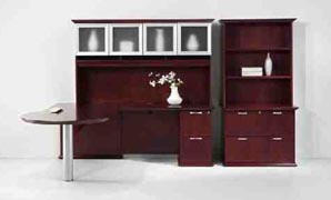 P-top U workstation with highback organizer, 2dr. lateral file with bookcase hutch