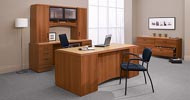 freeport office suite in avante honey finish