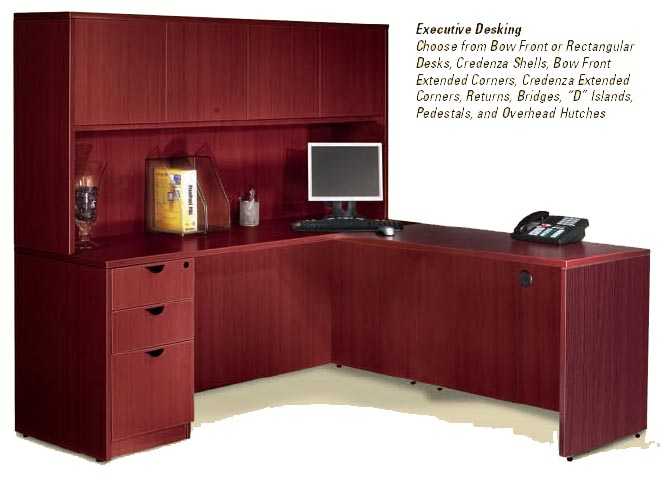 "executive ""L"" desk with hutch"