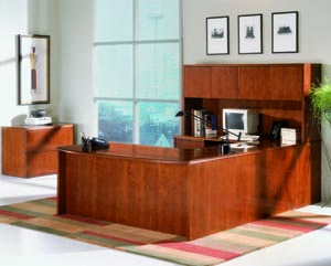 Forte bow front u desk hutch suite
