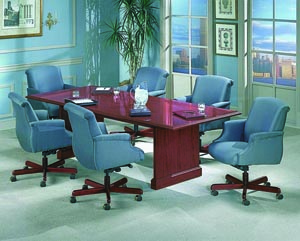 Conference table with upholstered high back with arms