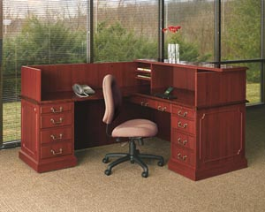 "Traditional reception ""L"" desk with transaction counter working side view"