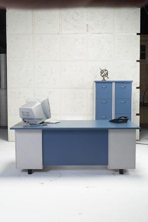 Executive desk with verticle files